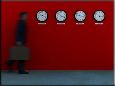 clock red wall